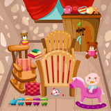 Baby room. Illustration of baby room with toys Royalty Free Stock Photo