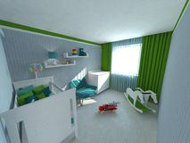 Baby room. 3D interior design for a baby room Royalty Free Stock Photos