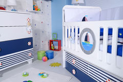 Baby room. With new furniture and toys stock photos