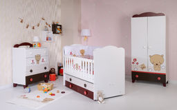Baby room. With new furniture and toys Royalty Free Stock Images