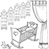 Baby room amst90 90. Cute bed for little baby newborn,sketch set of childs items, house Amsterdam and curtian, black on a white background Stock Images