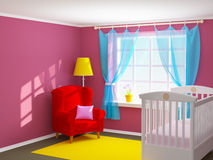Baby room with armchair. Baby's bedroom with cot and armchair. Empty room, 3d illustration Stock Photos