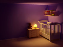 Baby Room At Night Stock Photo