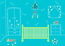 Baby room with a bed and toys,Vector illustrations Royalty Free Stock Photo
