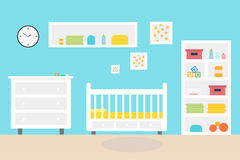 Baby room bedroom Child interior. furniture and toys. Playroom for kid in flat style. Vector illustration Stock Images
