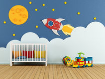 Baby room with cradle Royalty Free Stock Photo