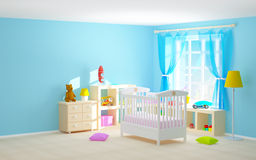 Baby room with floor shelves. Baby's bedroom with crib, shelves with toys, commode and bear. 3d illustration Royalty Free Stock Images