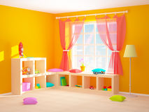 Baby room with floor shelves. Baby's room with shelves with toys. 3d illustration Royalty Free Stock Photography