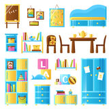 Baby Room Furniture Colored Set Royalty Free Stock Images