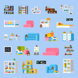 Baby Room Furniture Flat Decorative Icons Stock Images