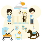Baby room with furniture. Nursery interior.Baby Stroller, Flat style vector illustration. Baby room with furniture. Nursery interior.Baby Stroller and Rocking royalty free illustration