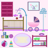 Baby room with furniture. Nursery interior. Flat style vector il Royalty Free Stock Photo