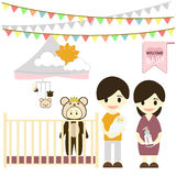 Baby room with furniture. Nursery interior. Flat style vector illustration. Royalty Free Stock Images
