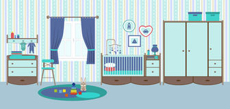 Baby room with furniture. Nursery and playroom interior stock illustration