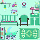 Baby room with green furniture. Nursery interior. Flat style vec Stock Image