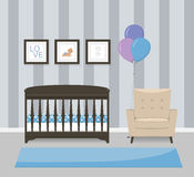 Baby room interior design in blue colors. Crib, armchair and framed pictures. Flat style vector illustration.  Stock Image