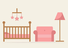 Baby room interior design. Crib, armchair and lamp in blue colors. Wooden cot and other furniture.  crib and armchair on background. Little baby girl room Stock Image