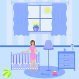 Baby room interior. Flat design. Newborn baby room with window, toys, cot, dedside table. stock illustration