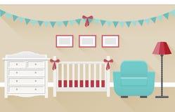 Baby room interior. Flat vector illustration. Baby room interior for newborn in flat style with long shadows. Modern nursery design including white crib and Royalty Free Stock Photos