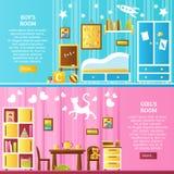 Baby Room Interior Horizontal Banners Royalty Free Stock Photo