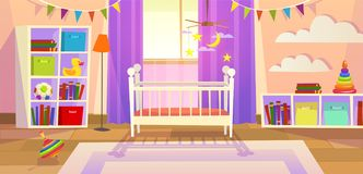 Baby room. Interior nursery bedroom newborn furniture cot children toys family lifestyle kid playroom, cartoon image. Baby room. Interior nursery bedroom newborn royalty free illustration