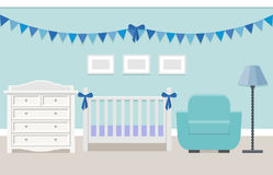 Baby room interior. Vector illustration. Baby room interior with white cot and changing table for boy in flat style. Modern blue nursery design. Vector Stock Photos