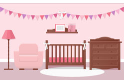 Baby room interior. Vector illustration. Royalty Free Stock Photo