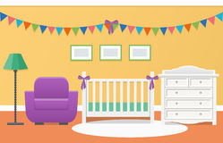 Baby room interior. Vector illustration. Baby room interior with white crib and changing table for newborn in flat style. Modern colorful nursery design. Vector Stock Photo
