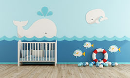 Baby room in marine style. With cradle - 3d rendering Royalty Free Stock Image