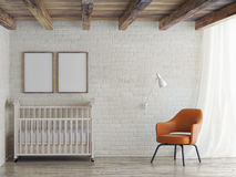 Baby room, mock up poster on brick wall, 3d illustration Royalty Free Stock Photos