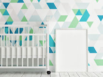 Baby room, mock up poster, triangle pattern wall Stock Photo