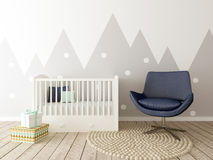 Baby Room, Nursery Interior. A 3d image of a baby room interior, children room interior, playroom Royalty Free Stock Images
