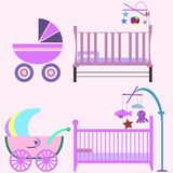 Baby room with pink furniture. Nursery interior. Flat style vect Royalty Free Stock Images