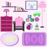 Baby room with pink furniture. Nursery interior. Flat style vect Royalty Free Stock Photography