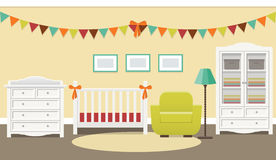Baby room retro interior. Vector illustration. Royalty Free Stock Photos