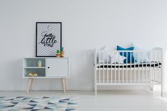 Baby room in scandi apartment. With vintage furniture Royalty Free Stock Photos