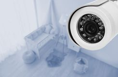 Baby room under CCTV camera surveillance. Above view stock photography