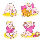 Baby rose. Beautiful baby playing with toys, eats from a bottle and sleeps Royalty Free Stock Photo