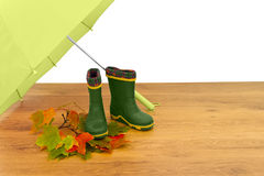 Baby rubber boots umbrella Stock Photography