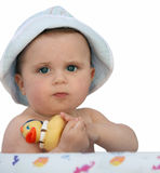Baby with a rubber duck Stock Photography