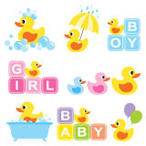 Baby Rubber Duck. Illustration of yellow rubber duck for baby shower Stock Image