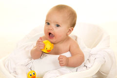 Baby with rubber duck mouth open Stock Photos
