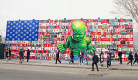 Baby-Rumpf-Wandgemälde Stockfotografie