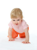 Baby running on all fours. Portrait of baby running on all fours Royalty Free Stock Photos