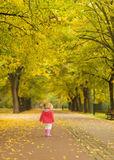 Baby running in park. Rear view Royalty Free Stock Images