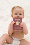 Baby with russian passport Royalty Free Stock Photo