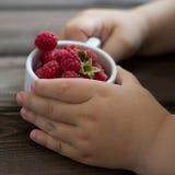 Baby& x27; s手拿着一个杯子莓 免版税库存照片