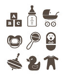 Baby`s accessories silhouettes Stock Image