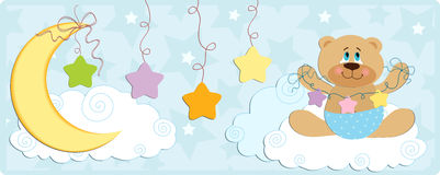 Baby's banner with bear in blue colors Stock Images