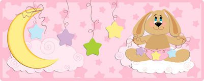 Baby's banner or postcard with rabbit royalty free illustration